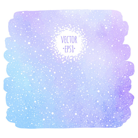 uneven edge: Winter watercolor background with falling snow texture. Brush stroke, uneven edge. Christmas, New Year hand drawn template with tiny dots, specks, flecks, snowflakes. Watercolour stains template.
