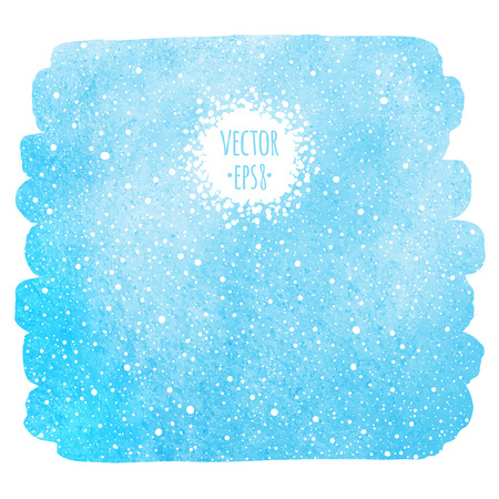 Winter watercolor sky with falling snow texture. Brush stroke, uneven edge. Christmas, New Year hand drawn background with tiny dots, specks, flecks, snowflakes. Blue watercolour stains template. Illustration