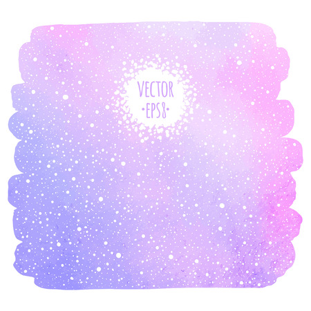 watercolor brush: Winter watercolor background with falling snow texture. Brush stroke, uneven edge. Christmas, New Year hand drawn template with tiny dots, specks, flecks, snowflakes. Watercolour stains template.