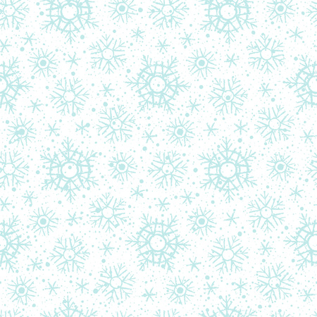spot the difference: New Year, Christmas background. Snowflakes winter seamless pattern. Brush or chalk drawn - uneven edges. Snow crystals of different size with tiny spots, dots, specks, flecks, flakes, splash texture.