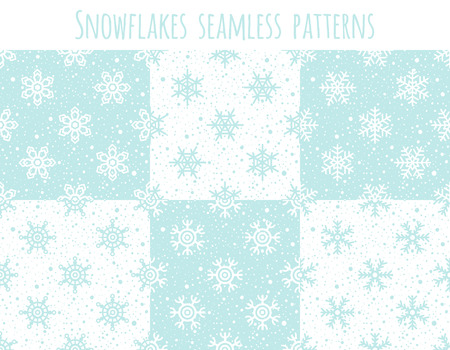 flecks: Set of six seamless patterns with different snow crystals. Winter, New Year, Christmas background collection. Various snowflakes texture with tiny spots, dots, specks, flecks, flakes. Illustration