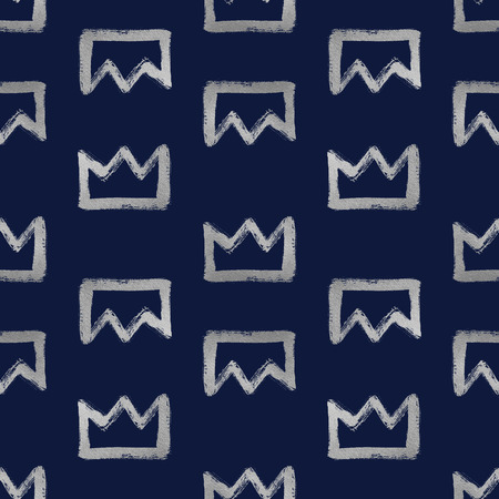 argent: Brush drawn shining silver crowns isolated on dark blue. Seamless pattern. Rough, uneven edges, doodle style. Stock Photo