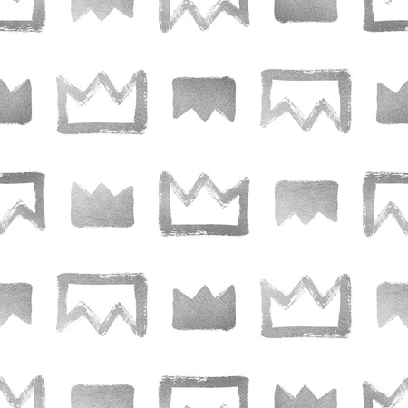 shiny argent: Brush drawn shining silver crowns isolated on white. Seamless pattern. Rough, uneven edges, doodle style. Stock Photo