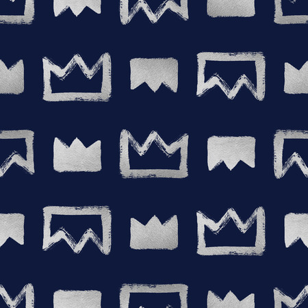shiny argent: Brush drawn shining silver crowns isolated on dark blue. Seamless pattern. Rough, uneven edges, doodle style. Stock Photo