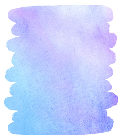 colourful sky: Watercolor brush drawn background with uneven edges. Colorful stain. Light pastel colors. Violet, sky blue. Watercolour template for your design. Colourful water texture. Stock Photo
