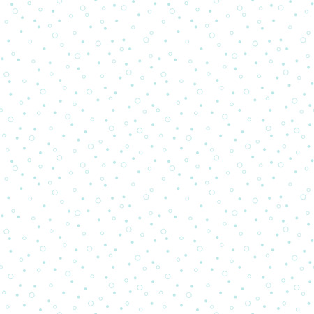 tiny: Simple flat design falling snow or soap bubbles abstract seamless pattern. Blue spots, circles or dots of various size on white background. Light winter, New Year, Christmas texture. Illustration