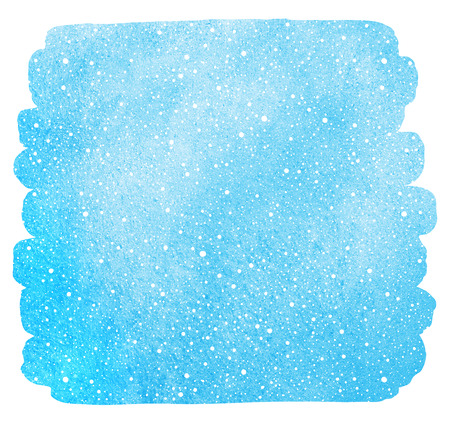 Winter watercolor sky with falling snow texture. Brush stroke, uneven edge. Christmas, New Year hand drawn background with tiny dots, specks, flecks, snowflakes. Blue watercolour stains template. Stok Fotoğraf