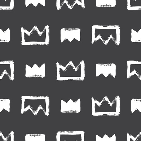 Brush Or Chalk Drawn Textured Crown Seamless Pattern Rough