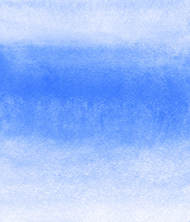 rectangle: Cobalt, royal blue striped watercolor background. Painted gradient template. Watercolour texture with stains and streaks. Soft pastel color. Stock Photo