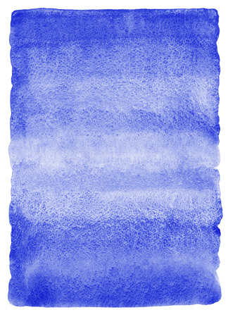 ultramarine: Cold blue, cobalt, ultramarine watercolor background. Watercolour texture with striped stains. Painted gradient background. Rough, uneven edges. Rounded corners. Stock Photo
