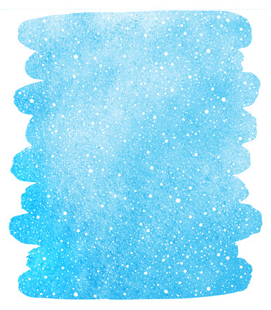 flecks: Winter watercolor sky with falling snow texture. Brush stroke, uneven edge. Christmas, New Year hand drawn background with tiny dots, specks, flecks, snowflakes. Blue watercolour stains template. Stock Photo