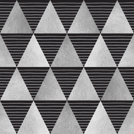 grey background texture: Silver triangles with stripes seamless vector pattern. Geometric monochrome abstract background. Steel, iron, grey, silver glittering triangles with uneven hand drawn streaks texture. Illustration
