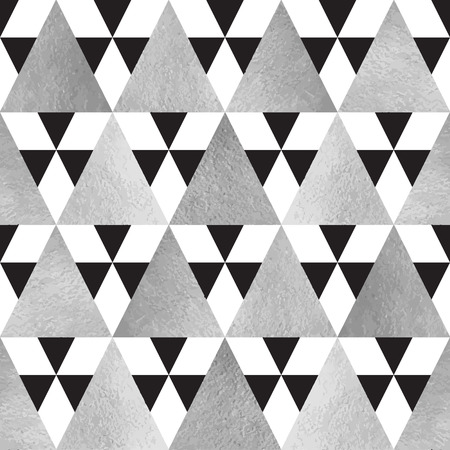 iron and steel: Silver and black triangles seamless vector pattern. Geometric monochrome abstract background. Steel, grey, iron, silver glittering triangles texture. Illustration
