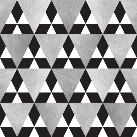Silver and black triangles seamless vector pattern. Geometric monochrome abstract background. Steel, grey, iron, silver glittering triangles texture. Illustration