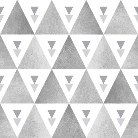 iron and steel: Silver triangles seamless vector pattern. Geometric monochrome abstract background. Steel, grey, iron, silver glittering triangles texture. Illustration