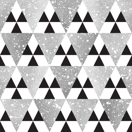 iron and steel: Silver triangles with white splash texture seamless vector pattern. Geometric abstract background. Iron, steel, silver glittering triangles and blobs texture. Illustration