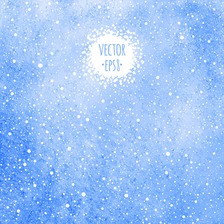 flecks: Winter watercolor background with falling snow splash texture. Blue watercolour stains template. Christmas, New Year vector fill with tiny dots, specks, flecks, snowflakes.