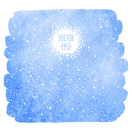 Winter watercolor background with falling snow texture. Christmas, New Year hand drawn fill with tiny dots, specks, flecks, snowflakes. Brush stroke, uneven edge. Blue watercolour stains template.