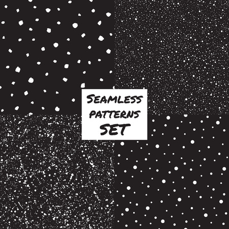 flecks: Set, collection of splash, specks, dots, blobs, spots seamless patterns. Black and white chaotic ornamentation. Hand drawn and smooth flecks, stains texture. Night sky, falling snow background.