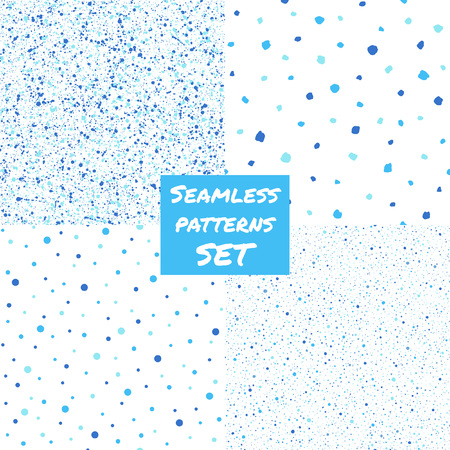 Set, collection of splash, specks, dots, blobs, spots seamless patterns. Free hand drawn and smooth speckles, flecks, stains of different size texture. Shades of blue abstract background. Ilustração