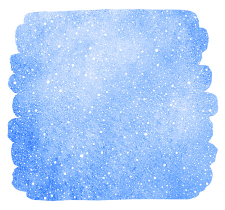 flecks: Winter watercolor background with falling snow texture. Christmas, New Year hand drawn fill with tiny dots, specks, flecks, snowflakes. Brush stroke isolated on white, uneven edge. Blue watercolour. Stock Photo