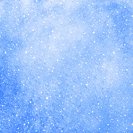 flecks: Winter watercolor background with falling snow splash texture. Cobalt blue watercolour stains template. Christmas, New Year fill with tiny dots, specks, flecks, snowflakes. Stock Photo