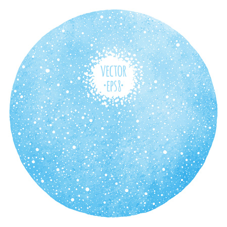 Winter watercolor round background with falling snow dots texture. Circle shape. Christmas, New Year hand drawn vector template with tiny specks, flecks, snowflakes. Blue watercolour stains.