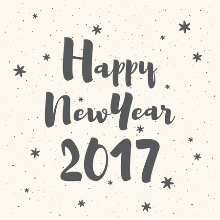 fleck: Happy New Year 2017 vector illustration. Lettering with snowflakes, hand drawn spray, uneven dots texture. Greeting inscription, card design, typography composition, winter background.