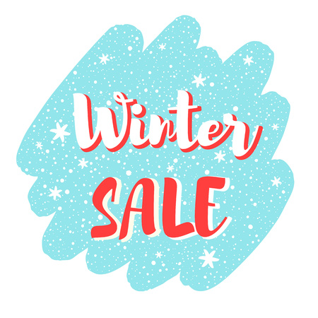 Winter sale vector illustration, frame. Brush stroke silhouette background. Lettering with snowflakes, hand drawn spray, dots. Inscription, typography composition, banner design.
