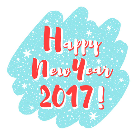 the inscription: Happy New Year 2017 vector illustration, frame. Brush stroke silhouette background. Lettering with snowflakes, hand drawn spray, dots. Greetings, card or banner design, typography composition.
