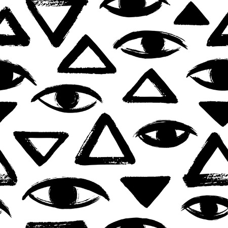 geometrical pattern: Brush drawn eyes and triangles seamless vector pattern. Rough edges. Hand drawn surreal black and white geometrical background. Stylized hand drawn eyes, eyeballs, pyramid texture. Ink illustration.
