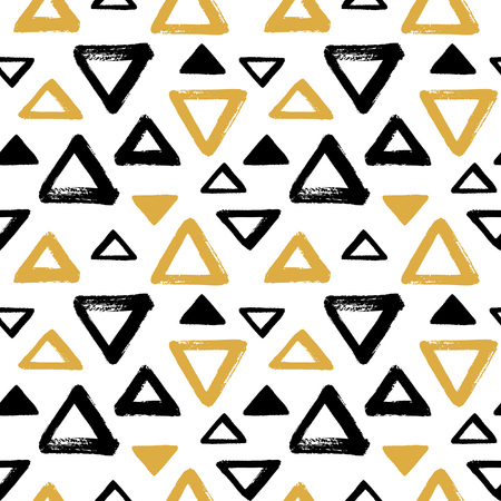 abstract doodle: Brush drawn triangles, pyramid seamless vector pattern. Black and yellow, gold geometric doodle style background. Abstract hand drawn texture. Various triangle shapes with rough, uneven edges.
