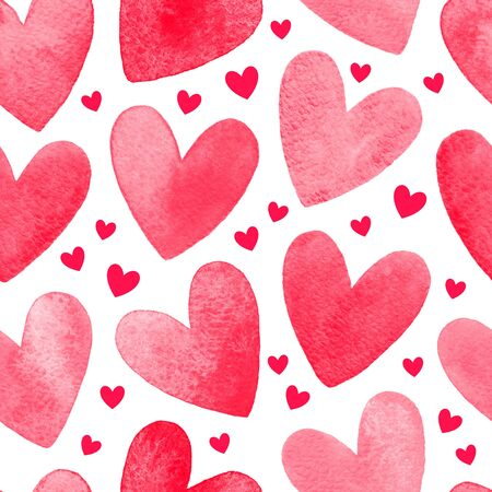 shape silhouette: Watercolor hearts isolated on white seamless pattern. Valentines Day watercolour texture, background. Heart shape hand drawn silhouette.