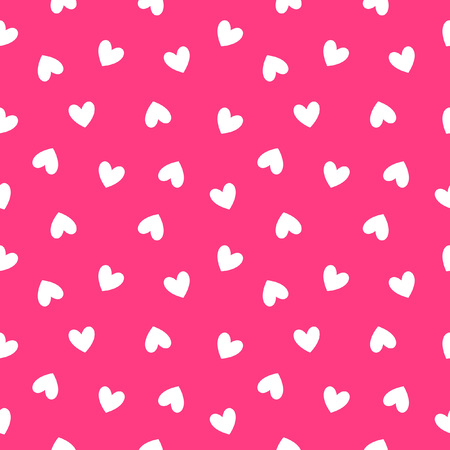 Einfache Herzen nahtlose Vektor-Muster. Valentinstag Hintergrund. Flaches Design endlos chaotische Textur aus winzigen Herzen Silhouetten.