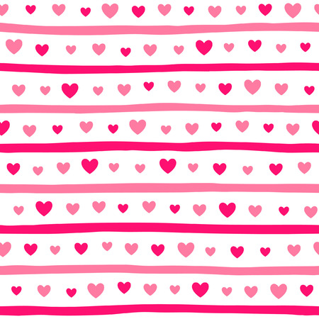 hearts background: Hearts and stripes seamless vector pattern. Valentine day simple background. Hearts of different size and uneven, doodle style bars endless texture. Shades of pink.