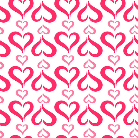 Stylized hearts seamless vector pattern. Valentines Day background. Cute heart shapes made of two curved parts. Hearts of different sizes texture.