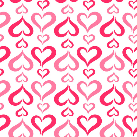 repetition row: Stylized hearts seamless vector pattern. Valentines Day background. Cute heart shapes made of two curved parts. Hearts of different sizes texture.