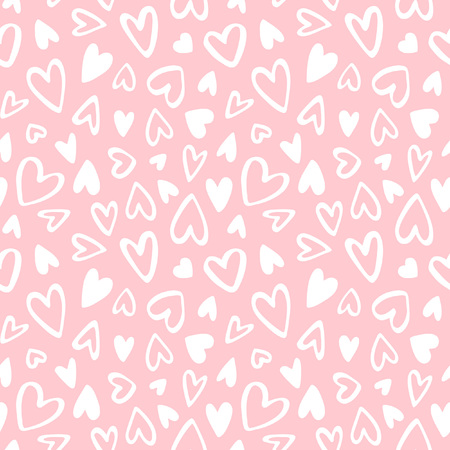 Cute doodle style hearts seamless vector pattern. Valentines Day handwritten background. Marker drawn different heart shapes and silhouettes. Hand drawn ornament. Illustration