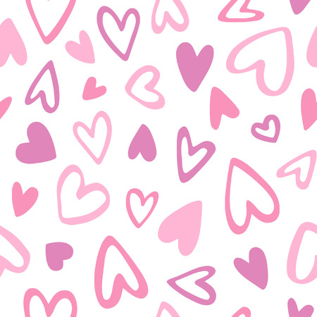 Nette Doodle Stil Herzen nahtlose Vektor-Muster. Valentinstag handgeschriebener Hintergrund. Marker verschiedenen Herz Formen und Silhouetten gezeichnet. Hand gezeichnet Ornament.