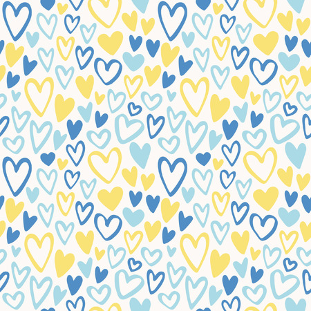 Colorful doodle hearts seamless pattern. Valentines day background. Marker drawn different heart shapes. Hand drawn ornament.