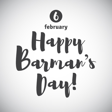 barkeeper: Barmans day greeting card. Lettering, calligraphy inscription and date. International Barman day simple vector illustration. Illustration