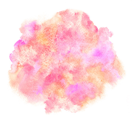Watercolor vlekken achtergrond. 8 maart, Pasen achtergrond. Roze, roze en oranje aquarel textuur met ongelijke artistiek tintje. Ronde, ovale vorm. Hand getrokken abstract vullen. Sjabloon voor kaarten, posters, banners. Stockfoto