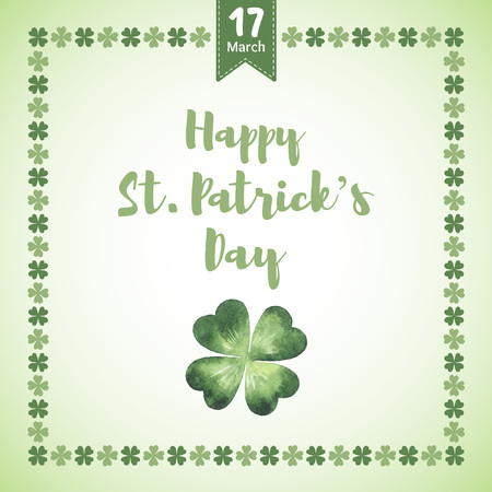 Happy St. Patricks Day vector greeting card. Typographic composition with date, watercolor shamrock, clover leaf and simple four-leaf border. Watercolour quarterfoil. Illustration