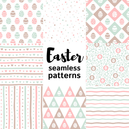 Set, collection of various Easter seamless vector patterns. Painted eggs, stripes, streaks, cute hearts, tendrils, dots, spots, doodle style wavy bars, simple geometrical shapes. Easter backgrounds.