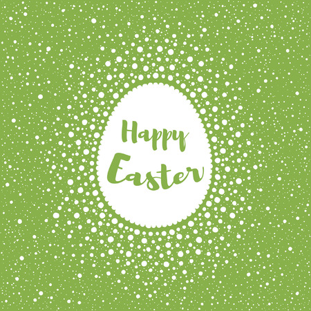 speck: Happy Easter greeting card template, splash or spray background. Egg shape frame made of spots, specks, flecks. Dots frame with empty space for your text. Greenery color. Typographic composition.