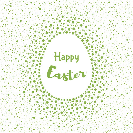 fleck: Happy Easter greeting card template. Egg shape frame made of spots, specks, flecks of various size. Dots frame with empty space for your text. Greenery color. Typographic composition. Illustration