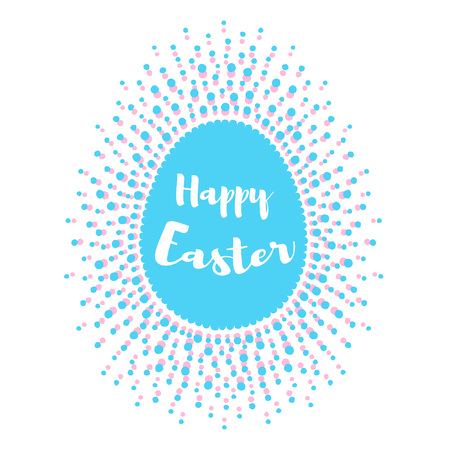 Happy Easter greeting card template. Egg shape frame made of spots, specks, flecks of various size.