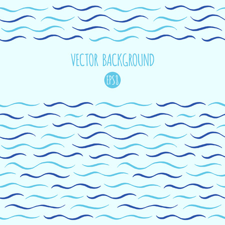 waves ocean: Waves vector background. Marine, maritime, sea, ocean seamless in horizontal direction borders, frames. Wavy lines, undulating thin stripes, streaks pattern. Hand drawn stylized water template.