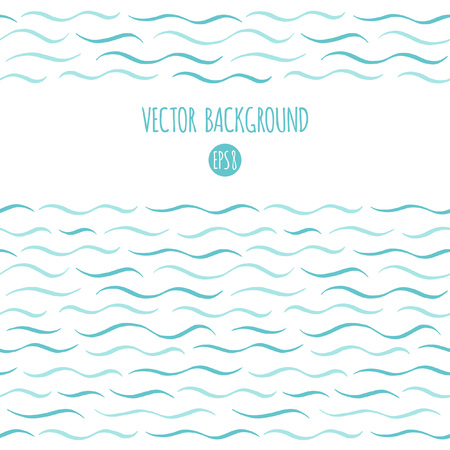 Waves vector background. Marine, maritime, sea, ocean seamless in horizontal direction borders, frames. Wavy lines, undulating thin stripes, streaks pattern. Hand drawn stylized water template.