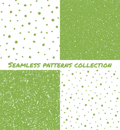 flecks: Set, collection of splash, spray, dots, blobs, spots seamless patterns. Easter, spring background. Green, greenery color chaotic ornamentation. Hand drawn and smooth flecks, specks, stains texture. Illustration